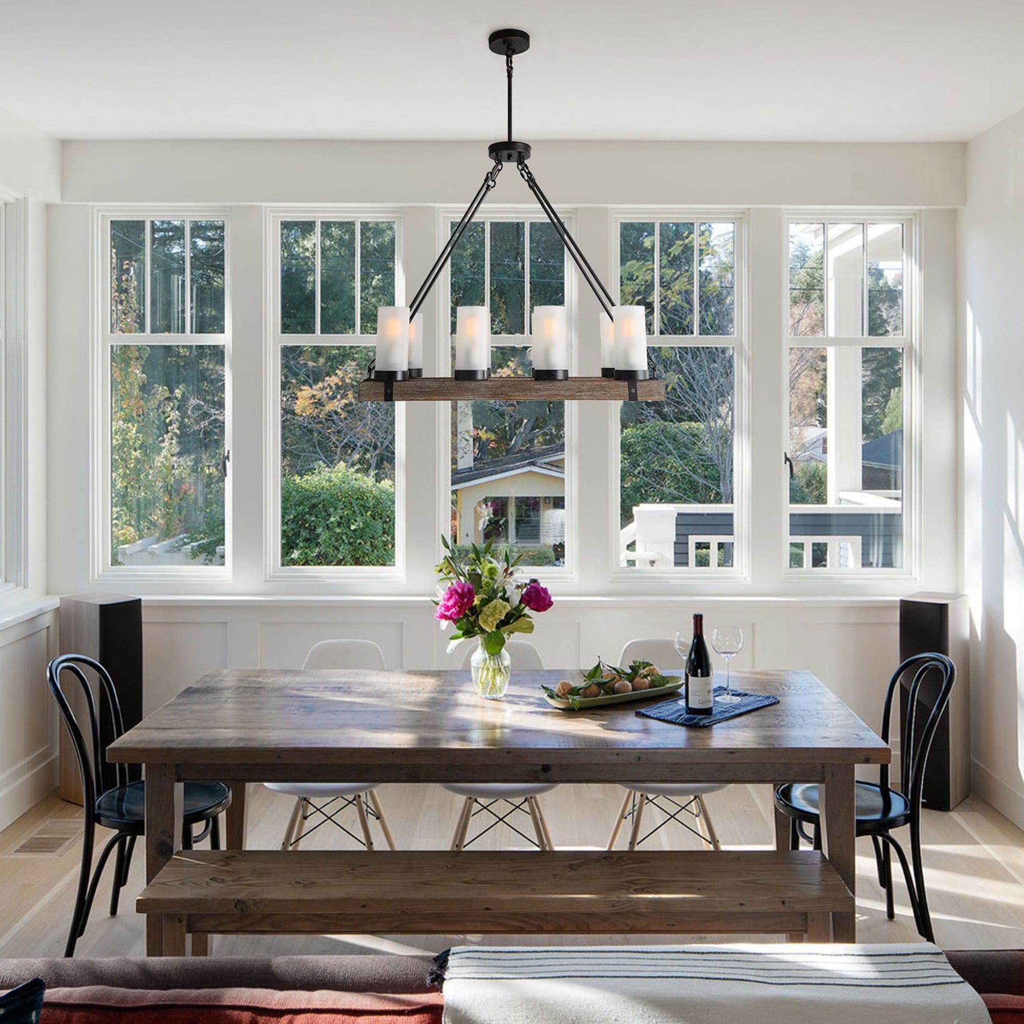 rustic 8-light linear island chandelier pendant lighting