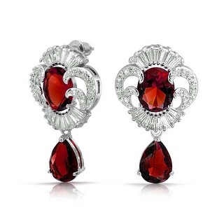 Bling Jewelry Vintage Style Red Drop Clear CZ Earrings Rhodium Plated