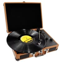 Retro Belt-Drive Turntable With USB-to-PC Connection, Rechargeable Battery