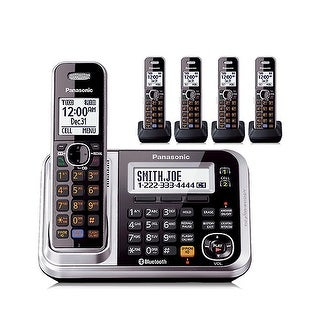Panasonic KX-TG7875S Link2Cell Bluetooth Cordless Phone with & Digital Answering Machine- 5 Handsets