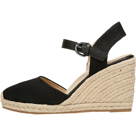 Naturalizer Womens Phebe Espadrilles Ankle Strap Suede - Black Leather