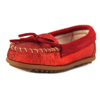 Minnetonka Glitter Moc Youth Round Toe Leather Red Loafer