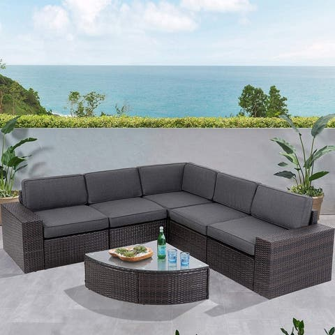 SUNCROWN Outdoor 6-piece Rattan Sectional Sofa Set with Table
