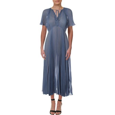 JILL Jill Stuart Womens Esme Cocktail Dress Chiffon Pleated - Wedge Wood