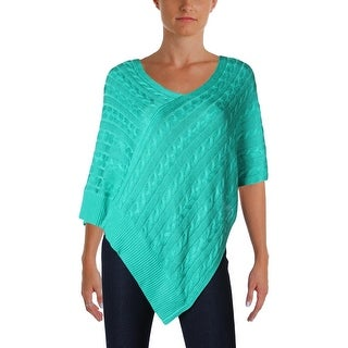 Lauren Ralph Lauren Womens Poncho Sweater Cable Knit Ribbed Trim (3 options available)