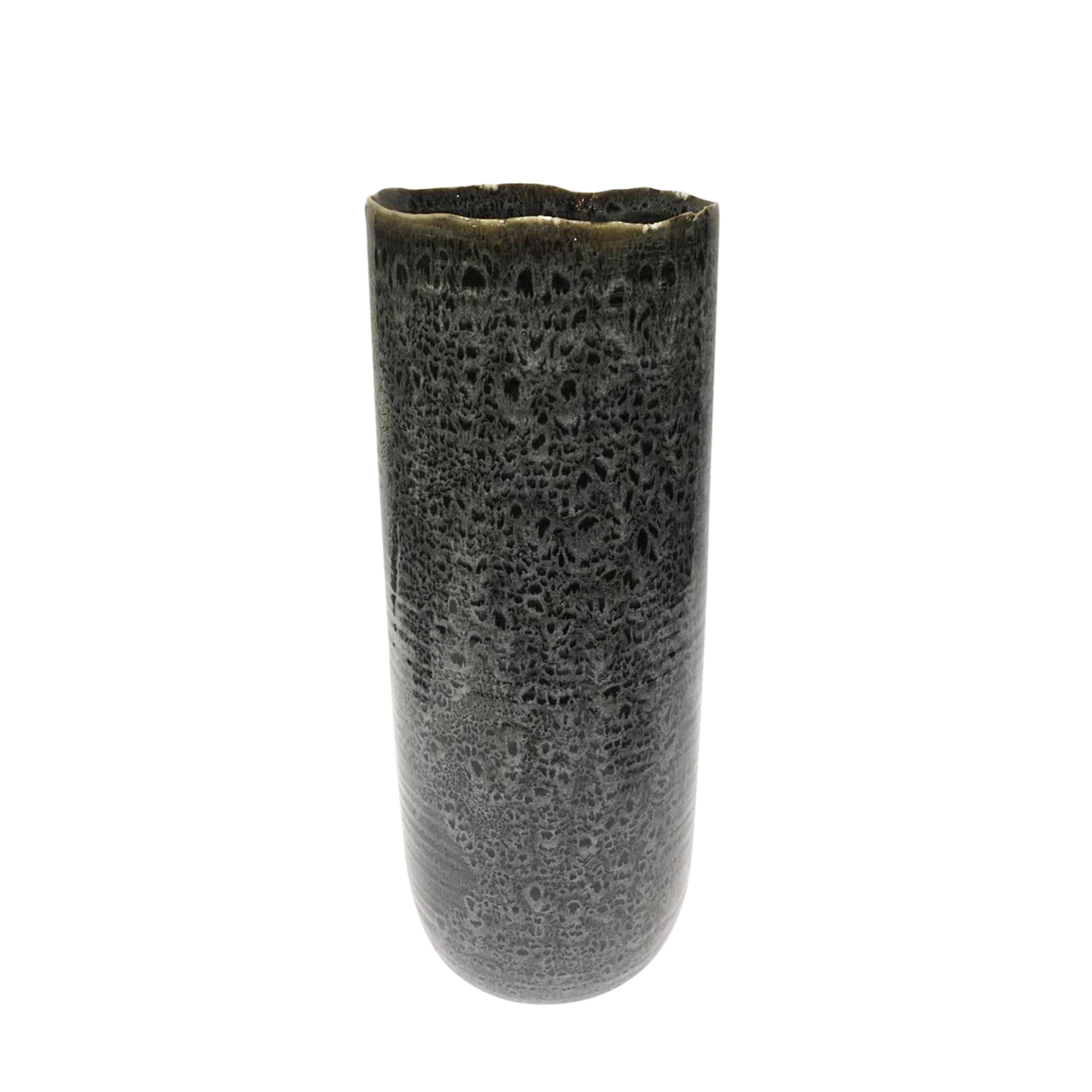 Ceramic Tapered Vase with Asymmetrical Rim, Large, Black