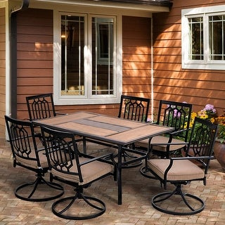 "Link to PHI VILLA Patio Dining Set of 7, 1 Rectangle 60""x 37"" Large Umbrella Table, 6 Swivel Chairs Furniture Set Similar Items in Patio Furniture"