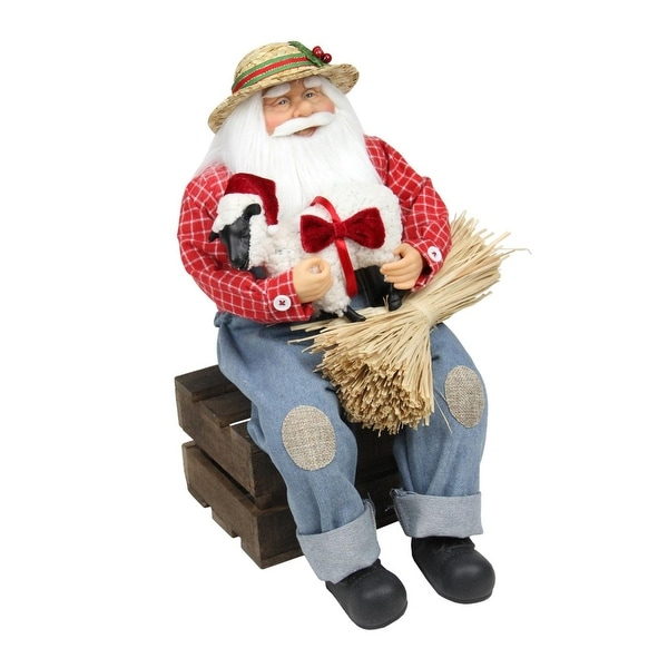 "15"" Country Heritage Santa Claus Holding Hampshire Sheep Christmas Decoration - BLue"