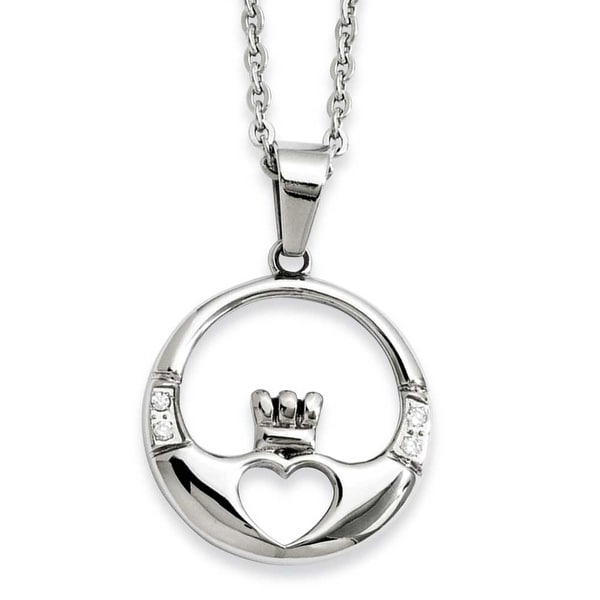 Stainless Steel Claddagh with CZs Pendant 20in Necklace (1 mm) - 20 in