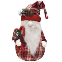 "28"" Red and White Plaid Sitting Santa Gnome with Candy Canes Plush Table Top Christmas Figure"