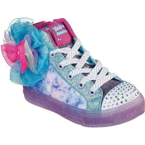 Skechers Girls' Twinkle Toes Shuffle Brights Bow Bright High Top Turquoise/Multi