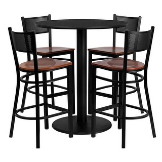 Offex 36'' Round Black Laminate Table Set with Grid Back Metal Bar Stool and Cherry Wood Seat