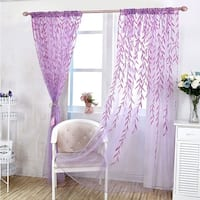 Willow Floral Sheer Curtains Panel Voile Tulle Window Curtain