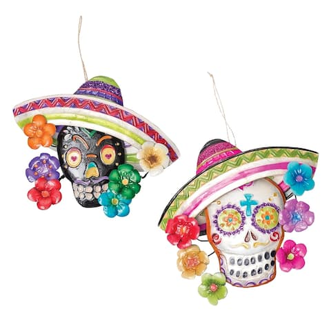 Fiesta Senor Sugar Skulls Capiz Shell Christmas Holiday Ornaments Set of 2