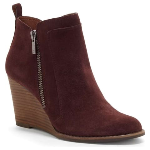 Lucky Brand Womens YAHIR Leather Almond Toe Ankle Platform Boots