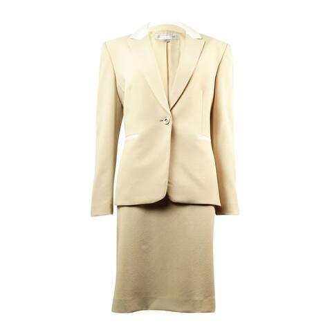 Tahari Women's Notched Lapel Crepe Single Button Skirt Suit - Beige/Ivory - 12P