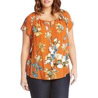 Karen Kane Orange Womens Size 2X Plus Floral Split-Neck Blouse
