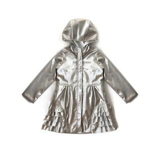 Isobella & Chloe Little Girls Silver Metallic Front Zipper Ruffles Hood Coat