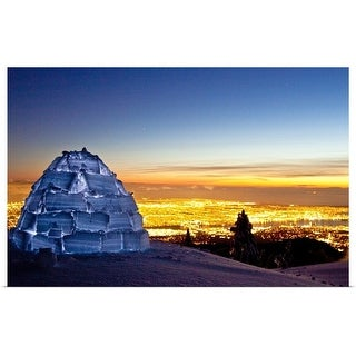 """""""Igloo illuminated on Seymour Mountain at sunset near city lights of Vancouver, Canada."""" Poster Print"""