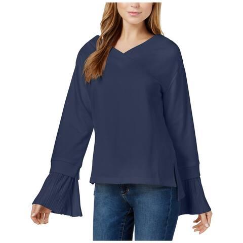 JOA Womens Sweatshirt Mixed Media Cuff Sleeves