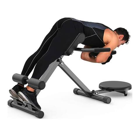 FitHealth Folding Roman Chair Back Hyper Extension Adjustable Bench Waist Plate Machine Strength Training Equipment