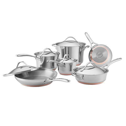Anolon Nouvelle Copper Stainless Steel 11-Piece Cookware Set