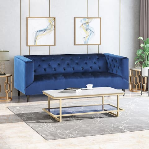 Loomis Contemporary Velvet 3-Seater Sofa by Christopher Knight Home