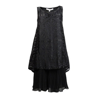 Studio M Women's Sleeveless Popover Pleated Dress