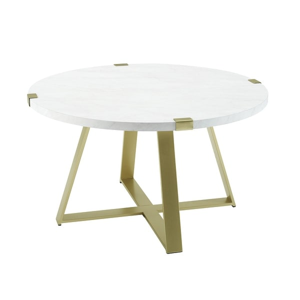 Faux Marble Round Coffee Table: Shop Offex Rustic Round Metal Wrap Coffee Table