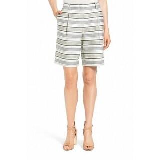 Lafayette NEW White Ivory Variegated Stripe Women Size 8 Casual Shorts