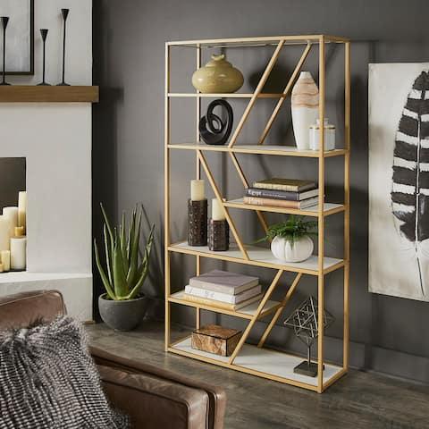 Cariba Geometric Gold Metal Bookcase by iNSPIRE Q Bold