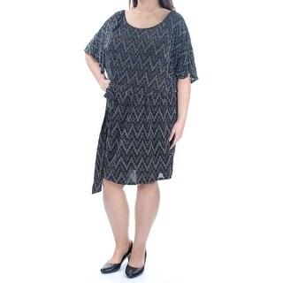 Womens Silver Short Sleeve Knee Length Blouson Cocktail Dress Size: 16W