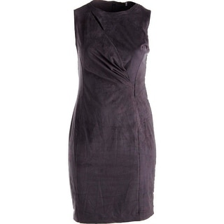 Elie Tahari Womens Augustine Faux Suede Cut-Out Cocktail Dress