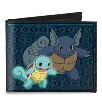 Squirtle Wartortle + Blastoise Diamonds Blue Black Canvas Bi Fold Wallet One Size - One Size Fits most