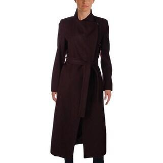 Kenneth Cole Reaction Womens Long Coat Wool Asymmetrical