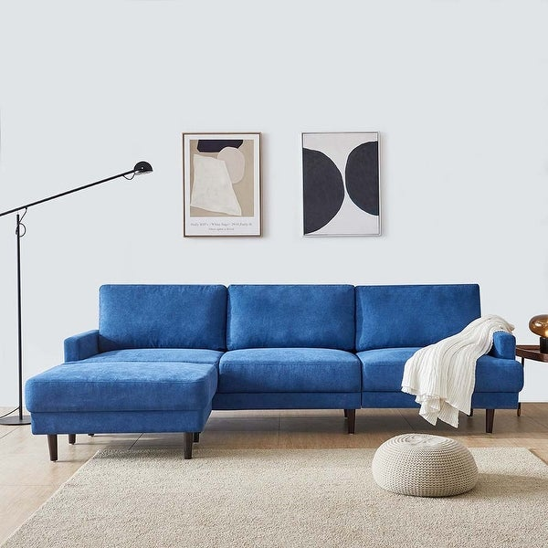 "Modern Fabric Sofa L shape, 3 Seater with Ottoman-104"" 5-Color. Opens flyout."