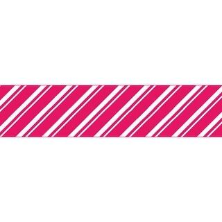 """Glitter Ribbon .875""""X3yd-Red Stripes"""