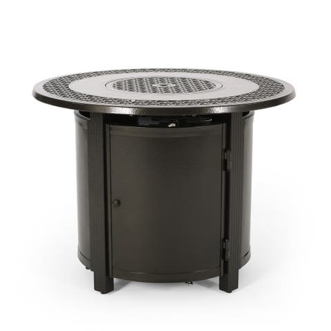 """Ontario Outdoor Round Aluminum Fire Pit by Christopher Knight Home - 33.50"""" W x 33.50"""" D x 25.25"""" H"""