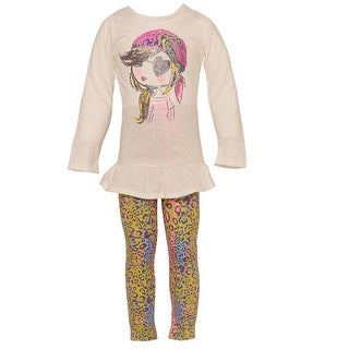 Ziggles Wiggles Little Girls Ivory Girl Leopard Print Leggings Outfit 2-4T