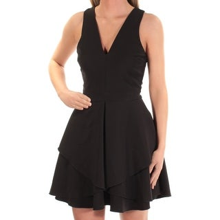 Womens Black Sleeveless Above The Knee Layered Cocktail Dress Size: XS