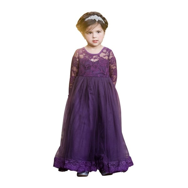 f0b4a7982a7 Shop Little Girls Purple Lace Open Back Floor Length Flower Girl Dress - Free  Shipping Today - Overstock - 23077849