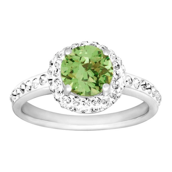 Crystaluxe August Ring with Green Swarovski Crystals in Sterling Silver