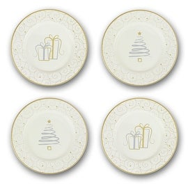 Russ Berrie Christmas Dessert Plates, Set of 4