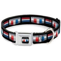 Dog Collar CMI-CMI-CAMARO Si Badge Full Color Black Silver Red White Blue - Pet Collar