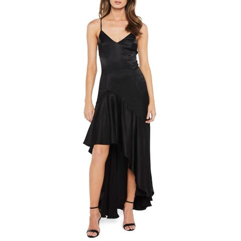 Bardot Women's Black Size 6 V-Neck Asymmetrical Flounce Gown Dress