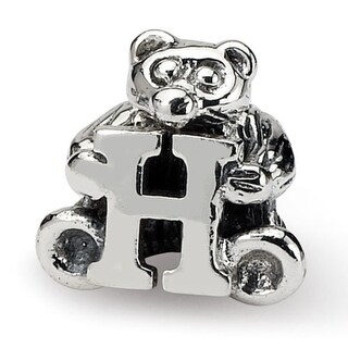 Sterling Silver Reflections Kids Letter H Bead (3.5mm Diameter Hole)