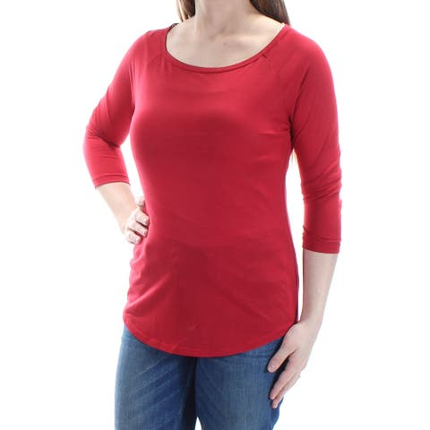 AMERICAN RAG Womens Red 3/4 Sleeve Jewel Neck Top Size S