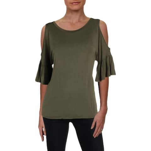 Aqua Womens Pullover Top Cold Shoulder Short Sleeve