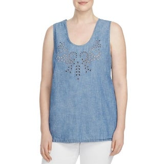Lucky Brand Womens Plus Tank Top Eyelet Scoop Neck