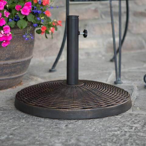 Outdoor Patio Black Round Woven Bronze Umbrella Base